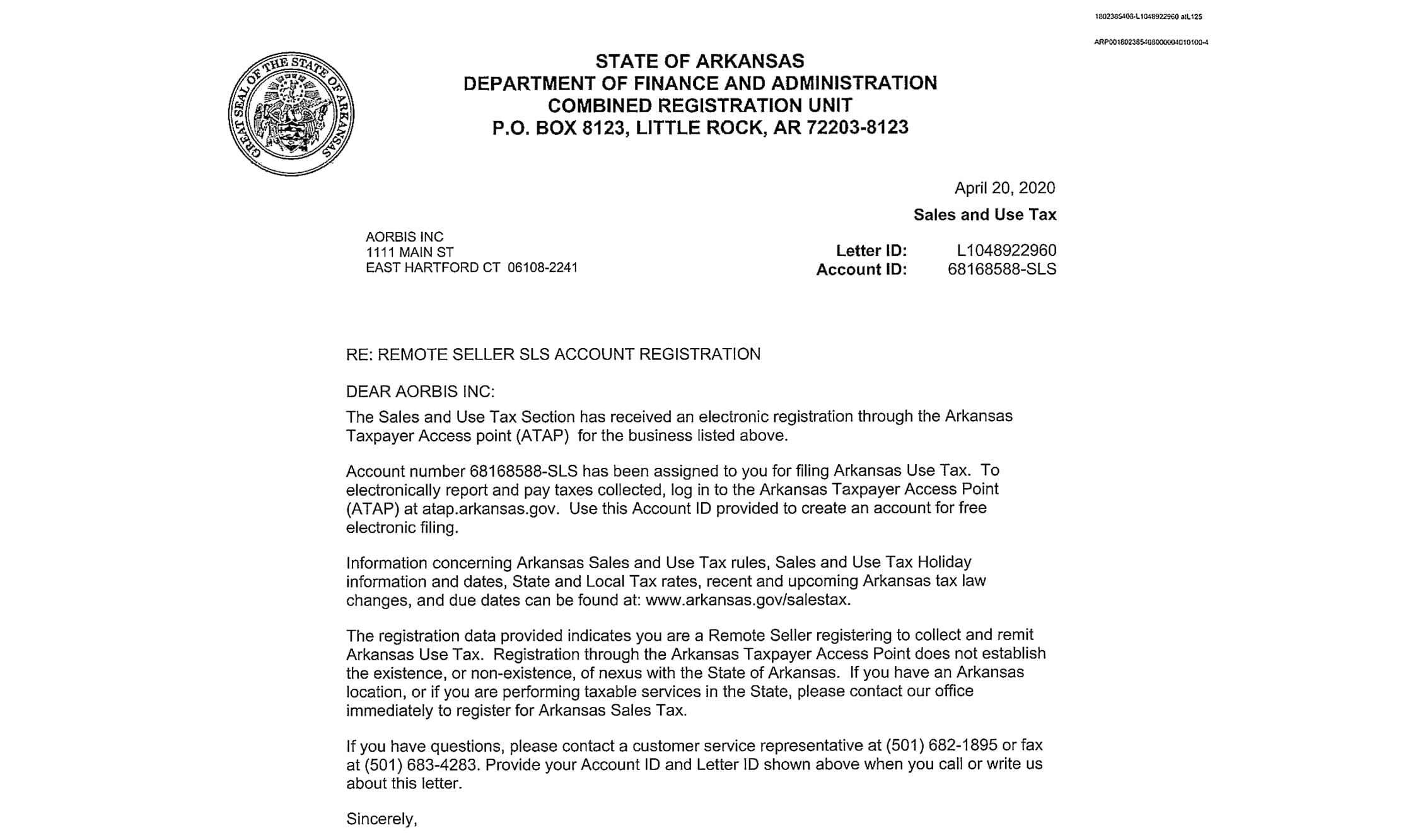 Arkansas - Permit Letter